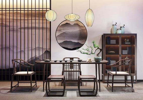 新中式餐桌椅裝飾架組合3D模型【ID:327926693】