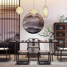 新中式餐桌椅装饰架组合3D模型【ID:327926693】
