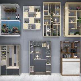 现代书柜3D模型【ID:926231512】