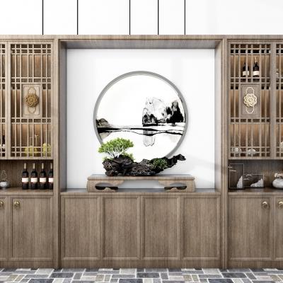 新中式酒柜3D模型【ID:927839021】