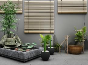 新中式荷花水塘盆栽擺件組合3D模型【ID:127751862】