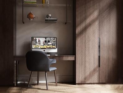 现代实木书桌衣柜组合3D模型【ID:131390955】