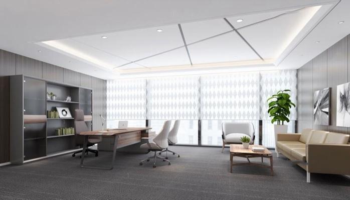 现代总经理办公室3D模型【ID:728077545】