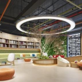 现代图书馆阅览室3D模型【ID:827815229】