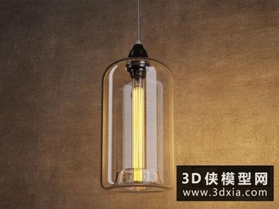 北歐燈泡吊燈國外3D模型【ID:829561731】