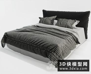现代风格床国外3D模型【ID:729323949】