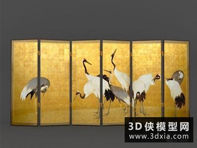 現代中式屏風國外3D模型【ID:929553538】