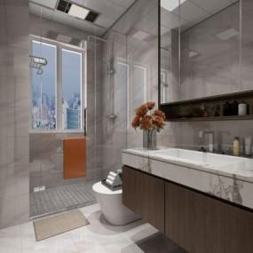 现代卫生间浴室3D模型【ID:128410640】