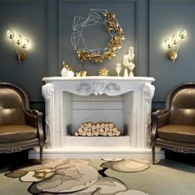 新古典沙发壁炉饰品组合3D模型【ID:927900646】