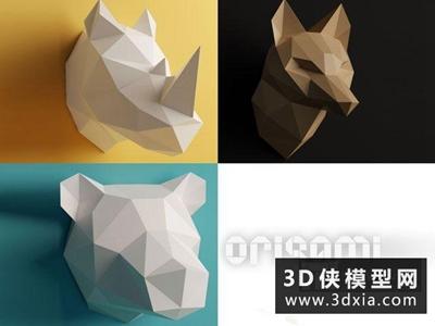 現代墻飾國外3D模型【ID:929500819】