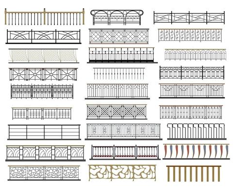 楼梯扶手组合3D模型【ID:828125843】