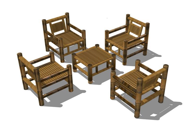 竹制桌椅SU模型【ID:737110955】