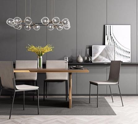现代餐桌椅组合3D模型【ID:328245640】