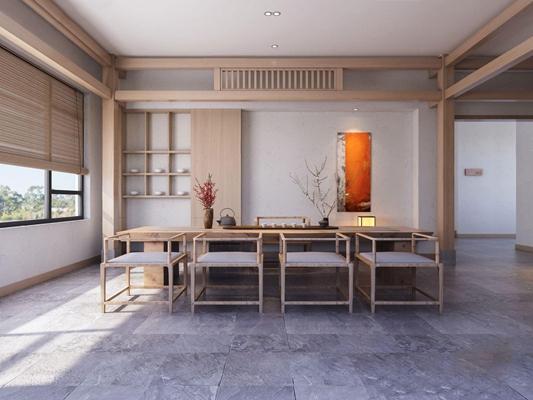 新中式禅意茶室3d模型【ID:328249718】