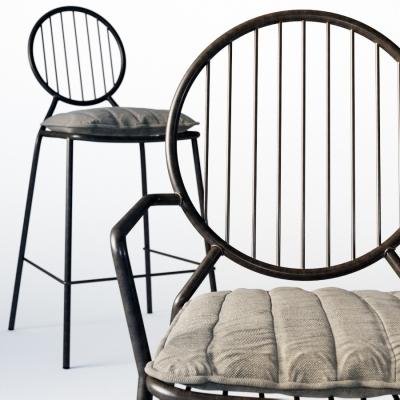 工业风铁艺吧椅3D模型【ID:328436157】