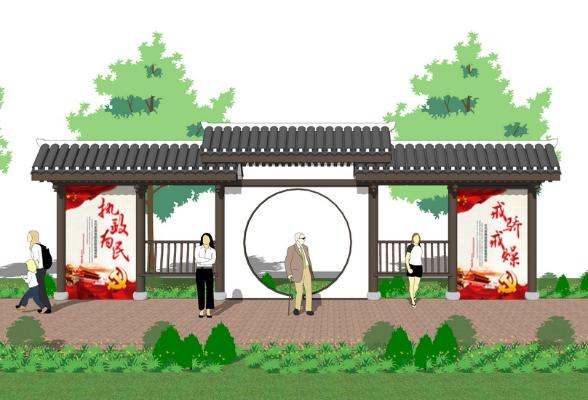 中式宣傳欄SU模型【ID:648079618】