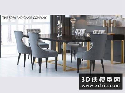 現代餐桌椅組合國外3D模型【ID:729356765】