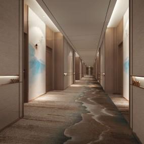 新中式酒店走廊過道3d模型【ID:747405458】