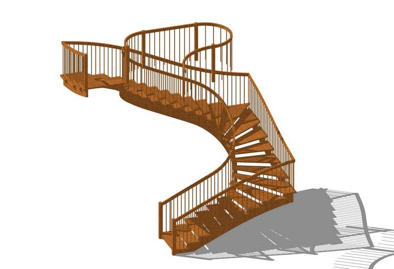 旋轉樓梯SU模型【ID:137110970】