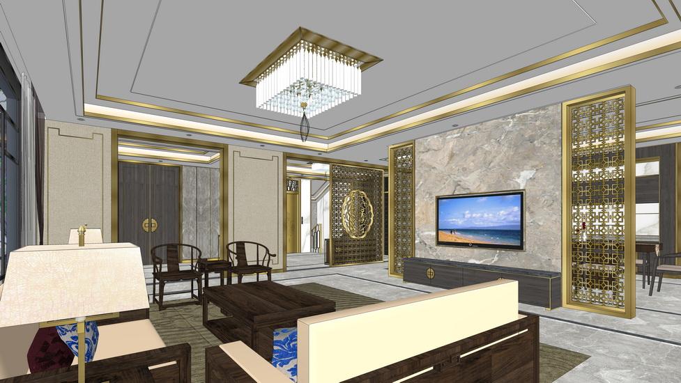 新中式复式别墅一层客厅餐厅室内设计SU模型【ID:937110876】