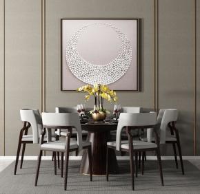 中式實木圓形餐桌椅餐具組合3D模型【ID:327785474】