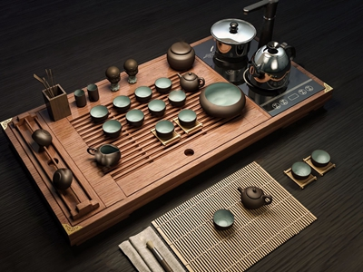 新中式茶具3D模型【ID:242042559】