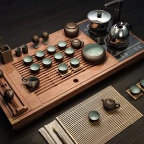 新中式�是平平�o�o茶具 3D模型【ID:242042559】