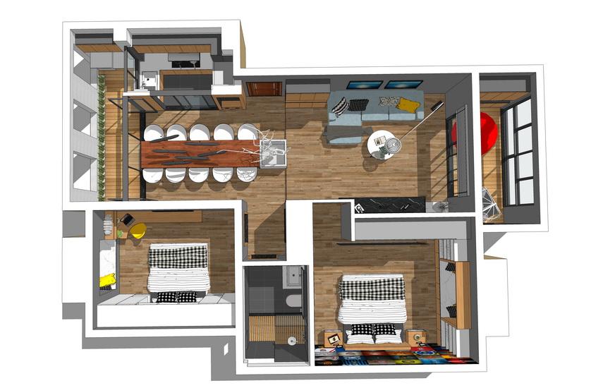 現代風格兩房兩廳室內設計SU模型【ID:937110892】