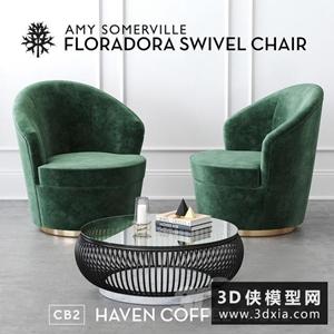 現代休閑椅組合國外3D模型【ID:729320883】