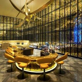 酒店椅子吊灯组合3D模型【ID:427937520】