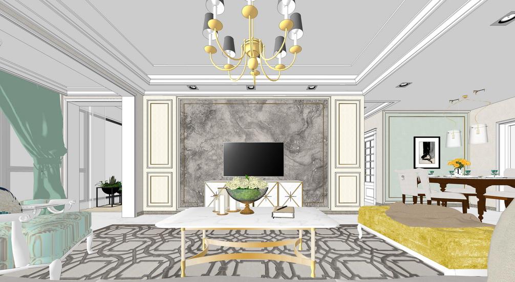 美式风格三房两厅室内设计SU模型【ID:437111933】