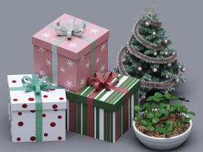 现代礼物盒圣诞树盆栽摆件组合3D模型【ID:927827180】