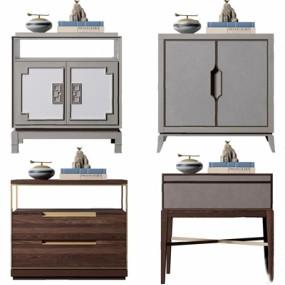 新中式床头柜边几组合3D模型【ID:128216261】