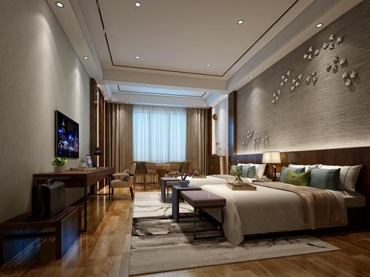 現代新中式客房3D模型【ID:427939624】