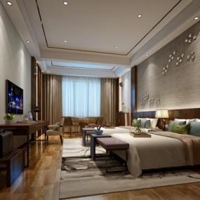 现代新中式客房3D模型【ID:427939624】