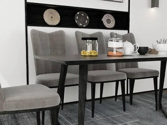 现代餐桌椅组合3D模型【ID:120616894】