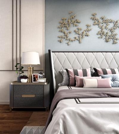 现代新奢华双人床床头柜组合3D模型【ID:728120013】