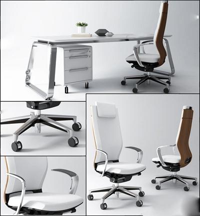 现代办公桌椅组合3D模型【ID:227882997】