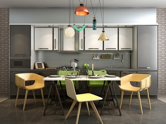 现代简约木制开放式厨房3D模型【ID:828124595】