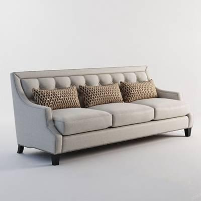 美式三人沙发3D模型【ID:920605834】