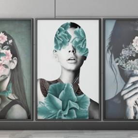 现代女性人物装饰画3D模型【ID:131395073】