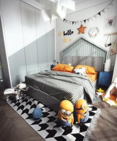 现代卧室儿童房3D模型【ID:127751261】