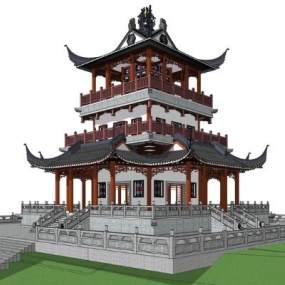 中式阁楼SU模型【ID:847732622】