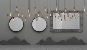 现代镜子吊灯组合3D模型【ID:927819745】
