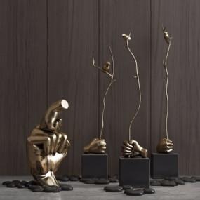 新中式雕塑摆设3D模型【ID:928182137】