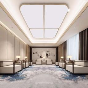 现代新中式接待室3D模型【ID:528014232】