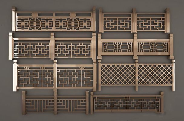 新中式栏杆3D模型【ID:828321509】