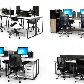 现代办公桌椅组合3D模型【ID:627805681】