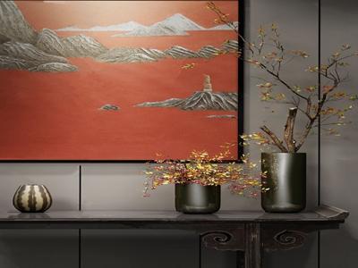 新中式花瓶花卉3D模型【ID:250470554】