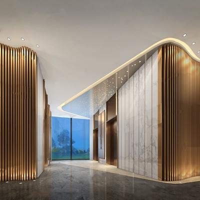 现代电梯厅3D模型【ID:427974945】